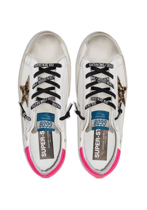 White Superstar leather sneakers featuring leopard print star patch to the sides and contrasting pink heel counter GOLDEN GOOSE |  | GWF00101-F00011580164