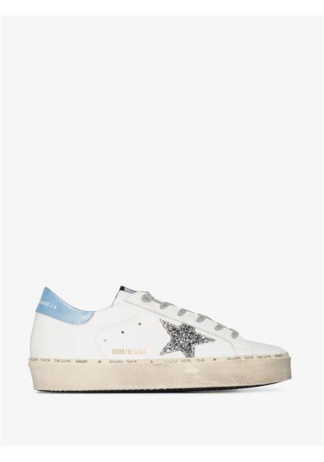 Sneakers Hi Star in pelle bianca, blu e argentata con plateau GOLDEN GOOSE | Sneakers | GWF00118-F00021410245