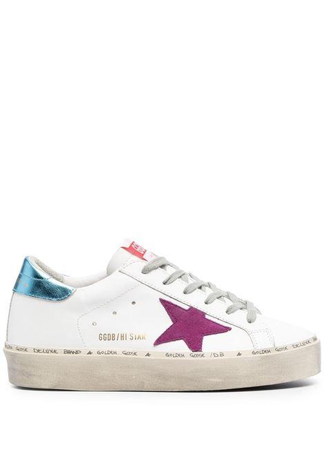 Sneakers Hi Star in pelle bianca, stella sui lati viola e tallone a contrasto blu GOLDEN GOOSE | Sneakers | GWF00118-F00022210247