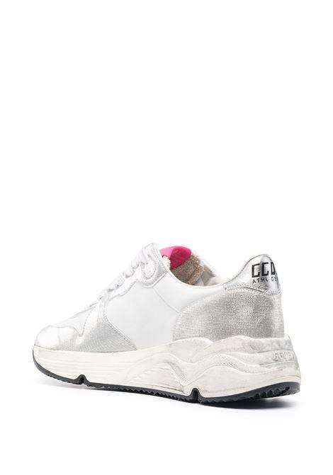 Sneaker Running Sole in pelle bianca e argento con stella nera sui lati GOLDEN GOOSE | Sneakers | GWF00126-F00105870159