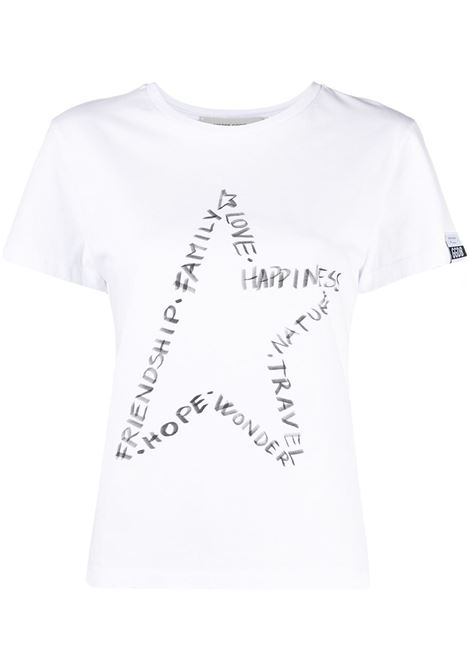 t.shirt in cotone bianco con stampa stella sul petto GOLDEN GOOSE | T-shirt | GWP00745-P00045210546