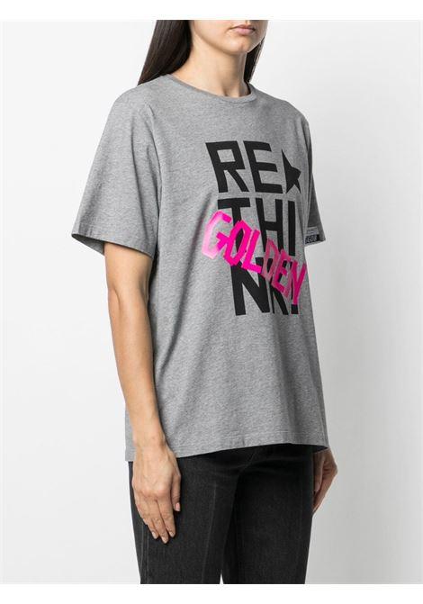 T-shirt grigia con stampa nera e fuxia GOLDEN GOOSE | T-shirt | GWP00753-P00042560284