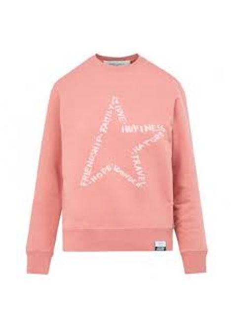 felpa in cotone rosa pesca con stella bianca stampata GOLDEN GOOSE | Felpe | GWP00760-P00036025554