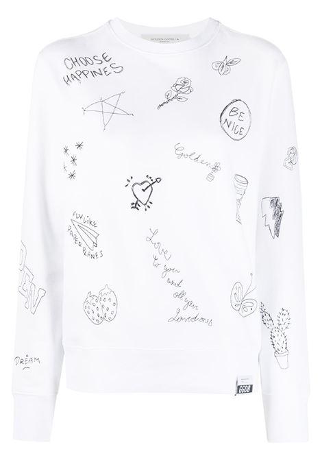 Felpa con stampa doodle in cotone bianco e nero GOLDEN GOOSE | Felpe | GWP00763-P00036410283