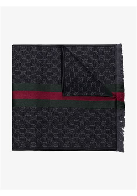 Black and red wool 180x37 GG jacquard knit scarf  GUCCI |  | 147351-4G7041166