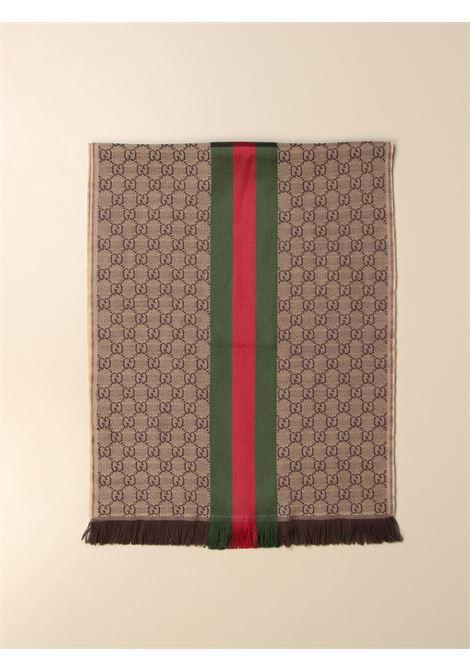Sciarpa in maglia jacquard 180x37 GG beige, verde e rossa GUCCI | Sciarpe e foulards | 147351-4G7042766