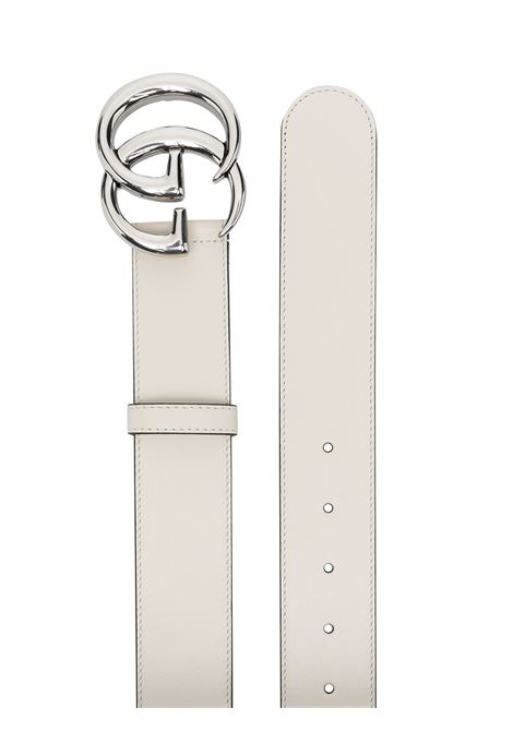 White 4cm calf leather belt featuring GG silver buckle  GUCCI |  | 400593-0YA0P9022