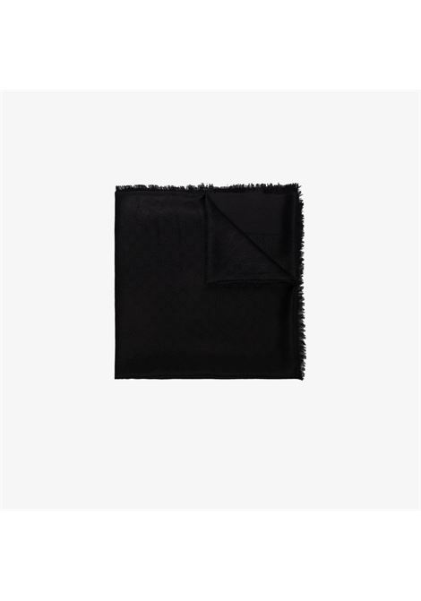 140x140 black silk foulard with frayed edges and all-over Gucci logo GUCCI | Sciarpe e foulards | 406236-3G6321000