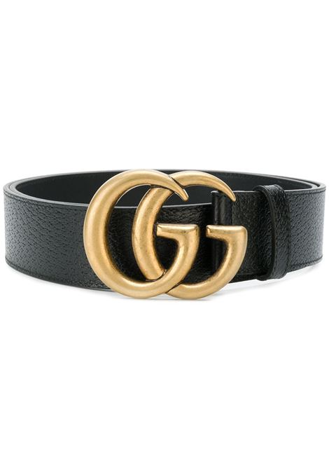 cintura da 4 cm in pelle di vitello nera con logo GG in ottone dorato GUCCI | Cinture | 406831-DJ20N1000
