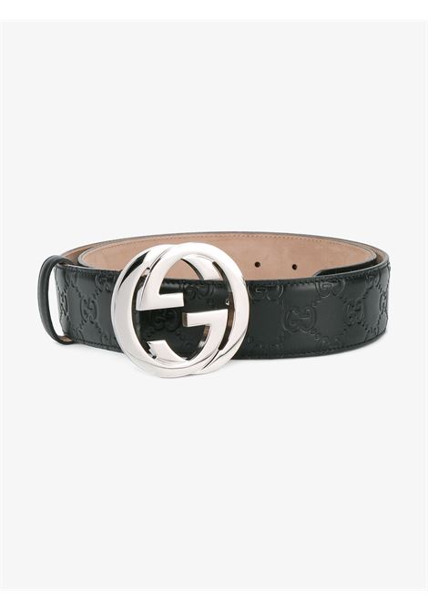 black calf leather belt featuring embossed black GG Gucci all over logo GUCCI |  | 411924-CWC1N1000