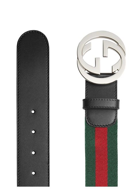 black calfskin 4cm belt with Gucci Web band in green and red fabric  GUCCI |  | 411924-H917N1060