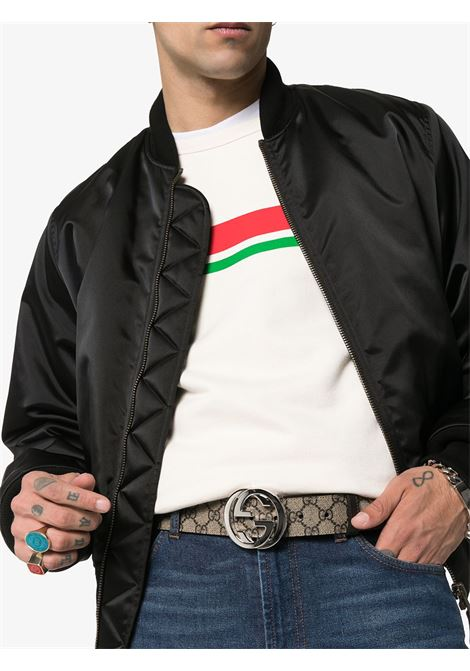 cintura da 4cm in stampa Gucci Supreme beige all over con fibbia GG in palladio GUCCI | Cinture | 411924-KGDHN9643