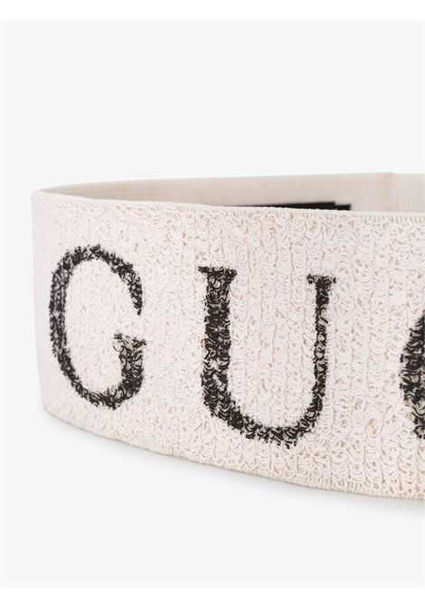 white knit bouclè polyester handband with grey glittered Gucci lettering logo