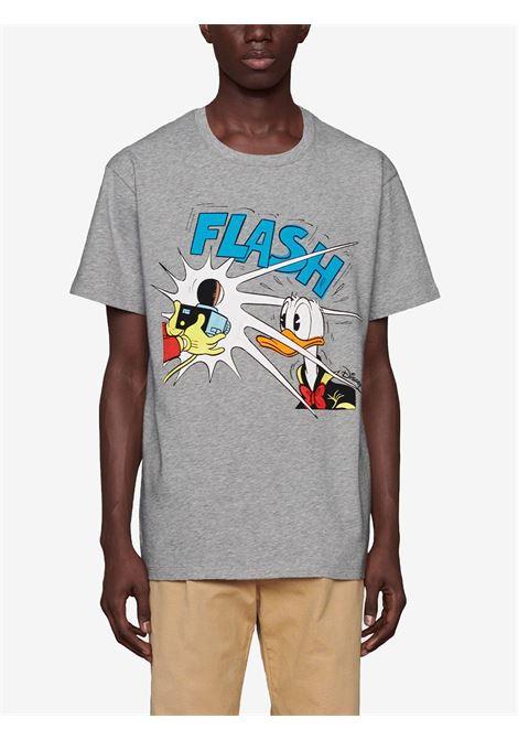 T-shirt con stampa Paperino Gucci x Disney Collection in cotone grigio GUCCI | T-shirt | 548334-XJDAE1230