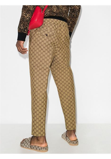 beige and brown cotton all over GG print drawstring relaxed fit trousers  GUCCI |  | 569769-ZKU092580