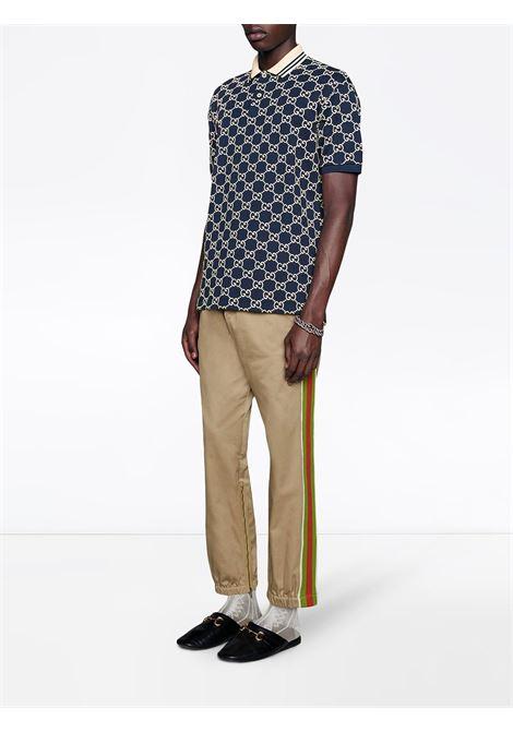 navy blue stretch-cotton GG Supreme print  short-sleeve polo shirt  GUCCI |  | 598956-XJB0U4115
