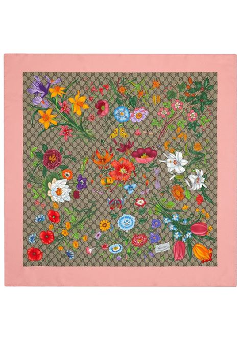 Multicolor and pink silk 90x90 Gucci Flora scarf  GUCCI |  | 602585-3G0019772