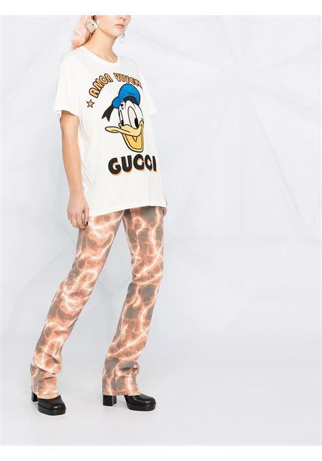 T-shirt in cotone bianco Gucci x Disney Collection con stampa cartoon di Paperino GUCCI | T-shirt | 615044-XJDBJ9088
