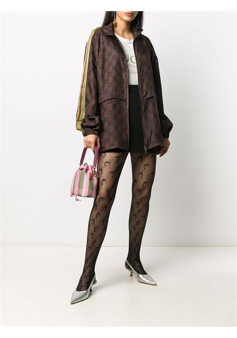 Brown organic silk zipped jacket featuring Gucci GG Supreme monogram print GUCCI |  | 625007-XJCL52138