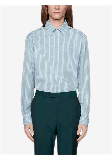 Blue cotton and mother-of-pearl fil coupé button-front shirt  GUCCI |  | 625888-ZAFXS4421