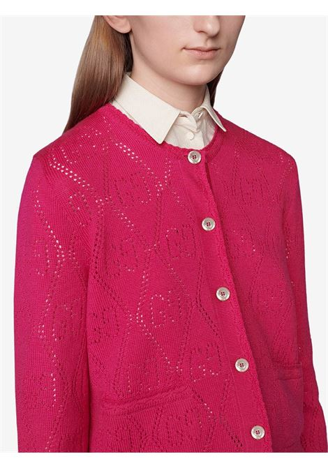 Pink wool perforated cardigan featuring round neck GUCCI |  | 642117-XKBL75400
