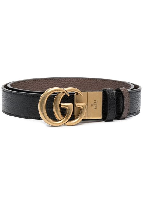 Blace and brown calf leather belt featuring adjustable gold GG buckle  GUCCI |  | 643847-CAO2T8170