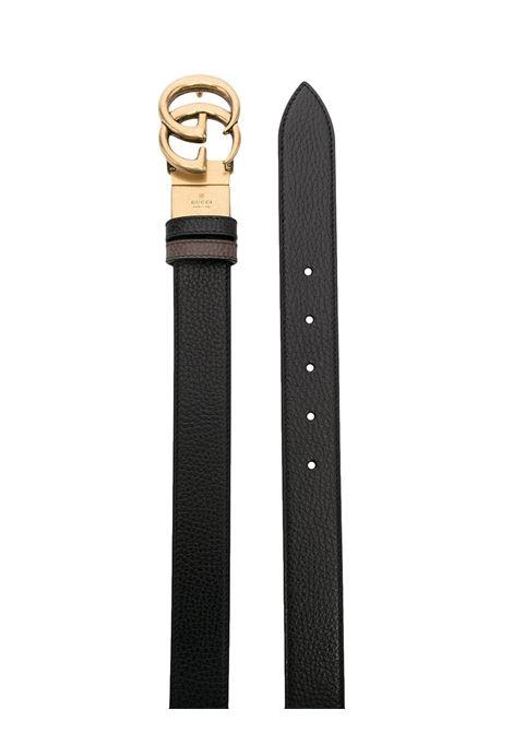 Cintura in pelle di vitello nera e marrone con fibbia GG oro GUCCI | Cinture | 643847-CAO2T8170