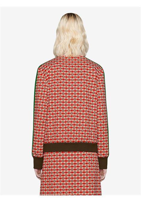 Felpa rossa con dettaglio a strisce Gucci Web sulle maniche lunghe GUCCI | Giubbini | 644629-XJC239376