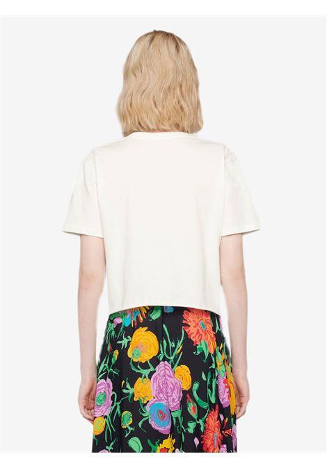 T-shirt in cotone bianco con stampa ciliegia con logo Gucci verde e rosso GUCCI | T-shirt | 644669-XJDBC9088