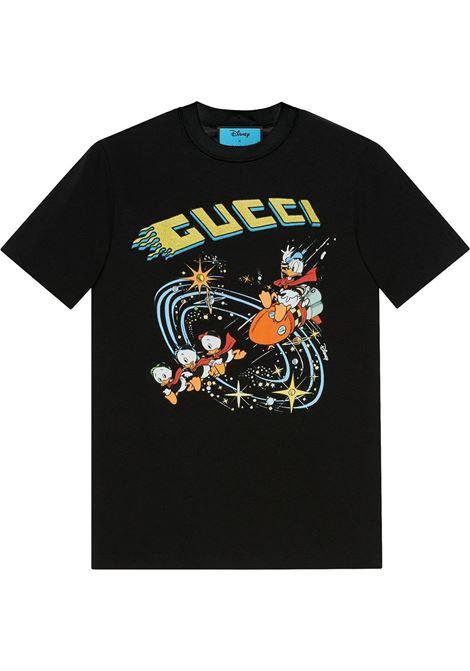 T-shirt multicolore nera in cotone biologico Gucci x Disney Collection a maniche corte GUCCI | T-shirt | 644671-XJDBD1043