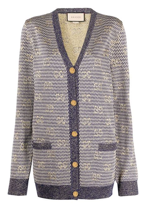 Cardigan blu scuro con scollo a V in filo metallico con logo Gucci jacquard all over GUCCI | Cardigan | 644773-XKBOO9661