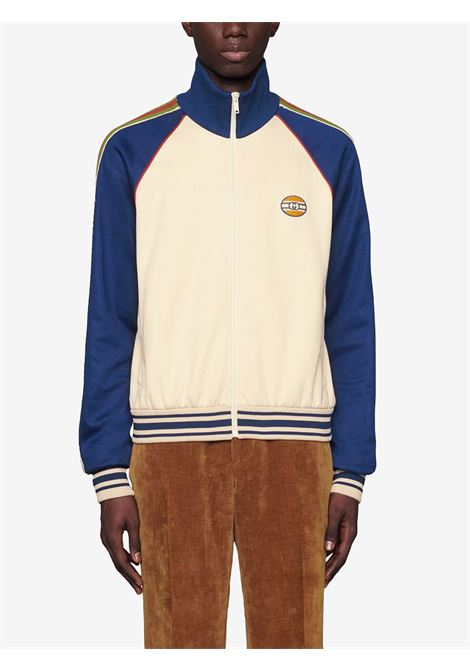 Cream and blue bomber jacket featuring colour-block design GUCCI |  | 645207-XJC5O9068