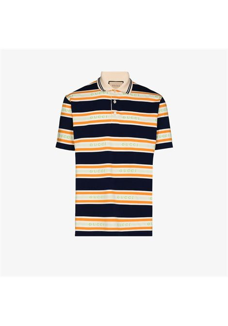 Navy, white and yellow cotton striped polo shirt from featuring all-over Gucci  GUCCI |  | 645258-XJC6I4273