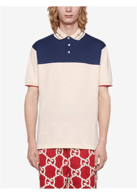 Cream and blue stretch-cotton embroidered-collar polo shirt  GUCCI |  | 645259-XJC6J9062