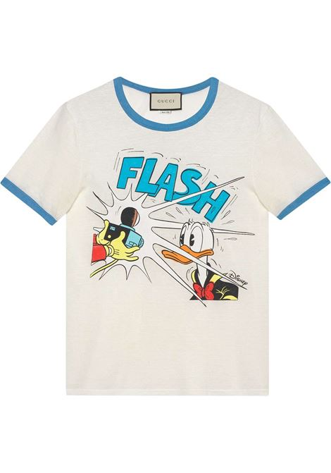 White linen and cotton Gucci x Disney Collection t.shirt feauting Donald Duck-print   GUCCI |  | 645302-XJC8W9791
