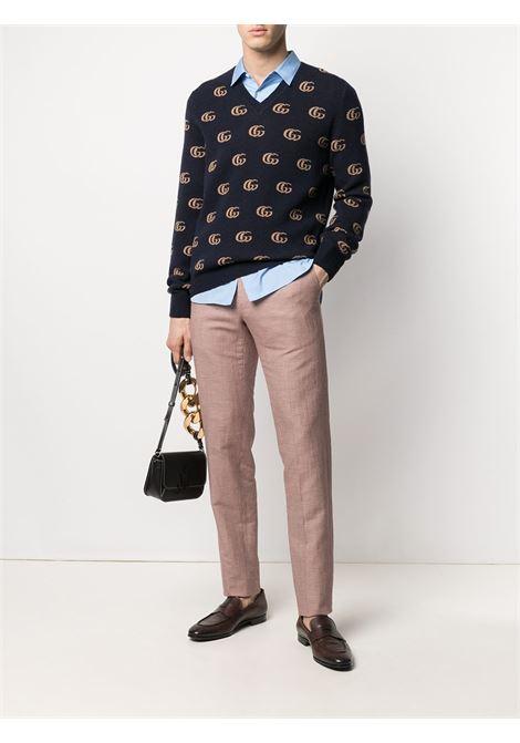 Maglione in lana blu scuro con motivo GG Gucci dorato, GUCCI | Maglieria | 645992-XKBPF4804