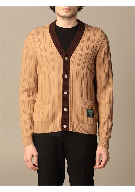 Camel brown wool cardigan featuring ribbed knit GUCCI |  | 646809-XKBQT2668
