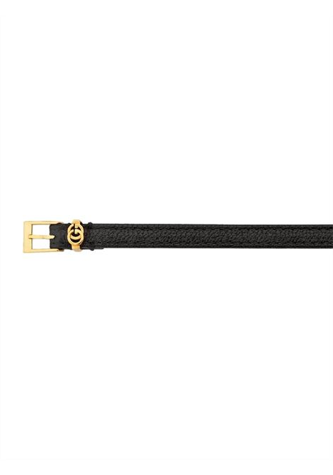 Black leather bracelet featuring GG Gucci gold-tone logo GUCCI |  | 648621-J88028030