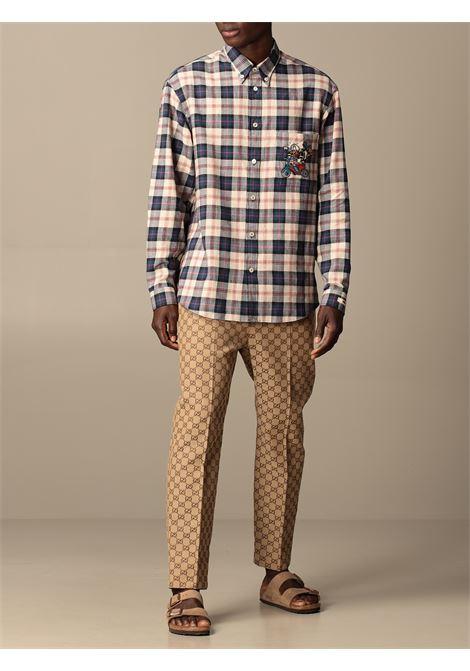 Camicia a quadri Gucci x Disney Collection in lino beige e blu GUCCI | Camicie | 649066-ZAGG49038