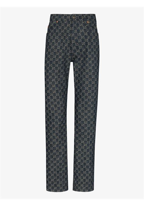 Blue organic cotton denim trousers with all over GG Gucci Supreme print  GUCCI |  | 649092-XDBK14266