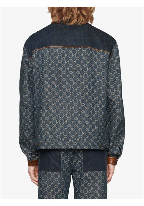 Blue and brown eco-organic denim jacket featuring all over GG Gucci canvas print GUCCI |  | 649110-XDBIP4266
