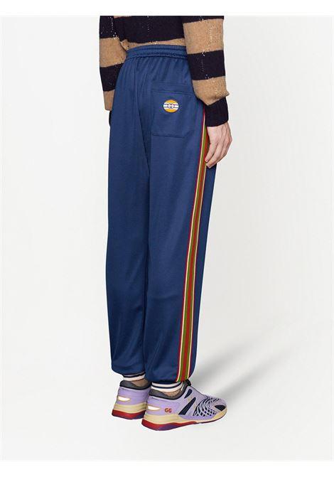Pantaloni della tuta con bordo a righe blu e strisce Gucci Web GUCCI | Pantaloni | 650041-XJC5O4030