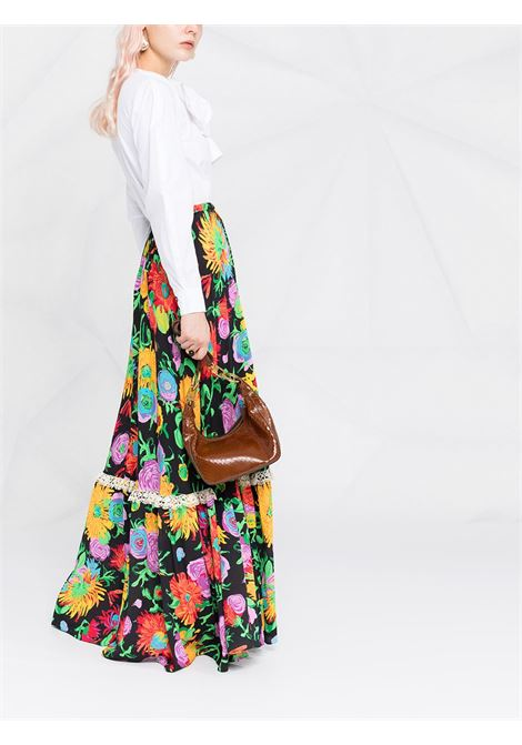 Maxi gonna nera in viscosa multicolore con stampa floreale Ken Scott x Gucci GUCCI | Gonne | 652660-ZAGH51043