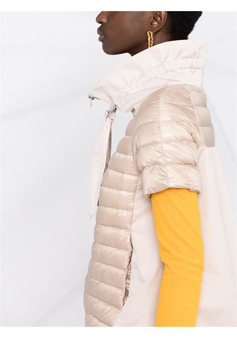 Blush pink feather down short-sleeved funnel-neck puffer jacket featuring front tie fastening HERNO |  | PI1082D-120174030