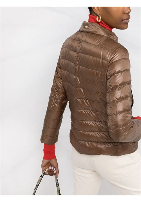 Brown goose down padded jacket featuring beige silk Herno monogram scarf  HERNO |  | PI1266D-120178160