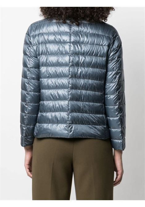 Grey feather down padded jacket featuring brown silk scarf  HERNO |  | PI1266D-120179002