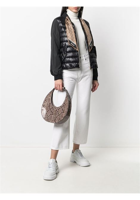 Black feather down puffer jacket with silk beige Herno monogram-scarf  HERNO |  | PI1268D-120179300