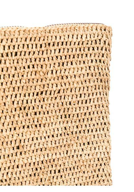 Pochette in tessuto e rafia rafia beige IBELIV | Clutch | AMPYTEA