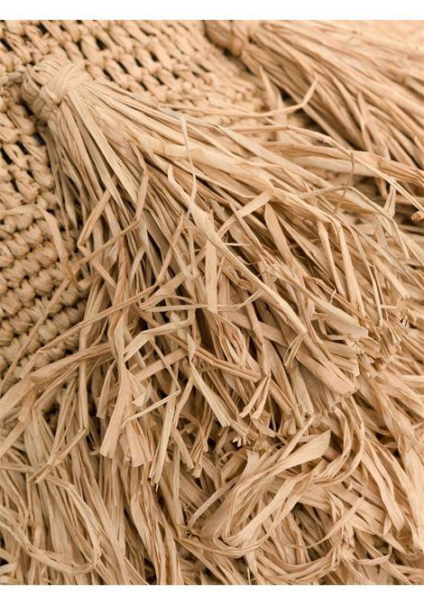 Borsa a tracolla in paglia con frange beige con nappe drappeggiate IBELIV | Borse a tracolla | FIATEA