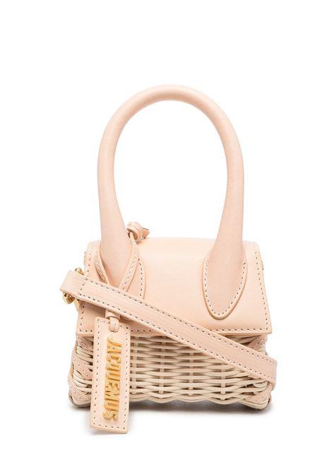 Mini borsa tote Le Chiquito in paglia e pelle color sabbia con targhetta in pelle con logo Jacquemus dorato JACQUEMUS | Borse a tracolla | 211BA01-303170